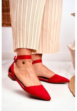 Trendy červené balerínky s remienkom pre dámy