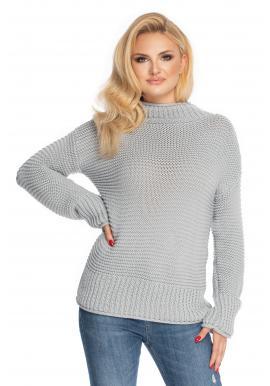 Sivý dámsky rolákový sveter s voľnými rukávmi