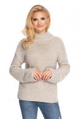 Dámsky béžový rolákový sveter s voľnými rukávmi