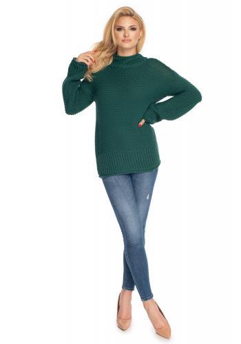 Pohodlný dámsky sveter s voľnými rukávmi v zelenej farbe