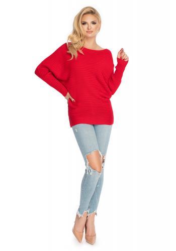Voľný dámsky sveter v červenej farbe