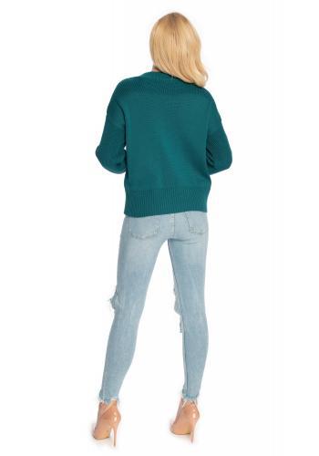 Zelený sveter s vyvýšeným golierom pre dámy