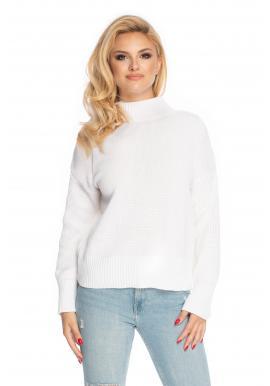 Biely dámsky sveter s vyvýšeným golierom