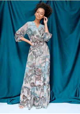 Šifónové maxi šaty s exotickým motívom pre dámy