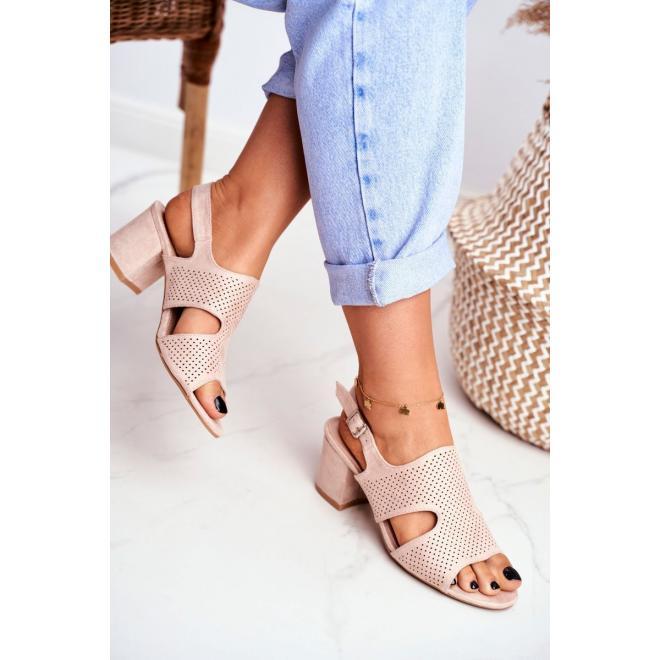 Béžové azúrové dámske sandále na stabilnom podpätku