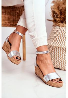 Strieborné sandále na klinovom podpätku pre dámy