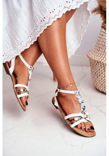 Biele dámske sandále s hadím vzorom