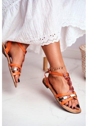 Elegantné oranžové sandále s hadím vzorom pre dámy
