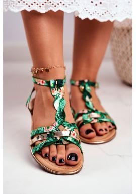 Zelené dámske sandále s exotickým motívom