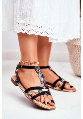 Štýlové čierne sandále s hadím vzorom pre dámy