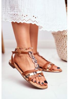 Hnedé sandále s hadím vzorom pre dámy