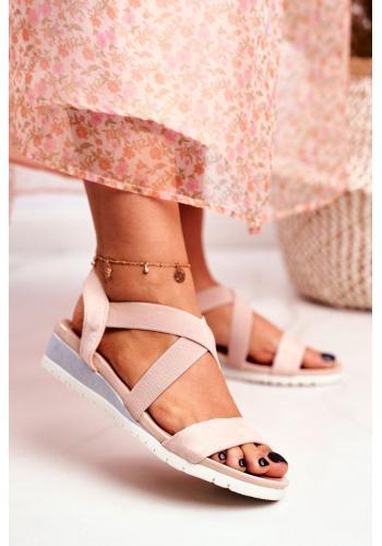 Trendy nazúvacie pudrové sandále na klinovom podpätku pre dámy