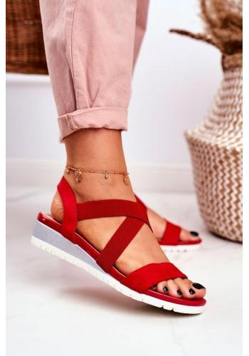 Dámske nazúvacie červené sandále na klinovom podpätku