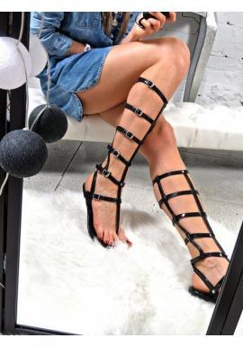 Čierne dámske sandále gladiátorky