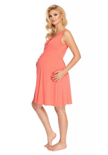 Nočná tehotenská a dojčiaca košeľa bez rukávov v koralovej farbe