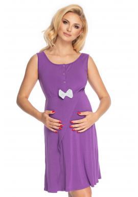Fialová nočná tehotenská a dojčiaca košeľa bez rukávov s mašličkou