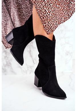 Dámske kovbojské čižmy v čiernej farbe