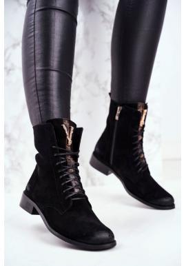 Čierne štýlové čižmy pre dámy so zlatým zdobením