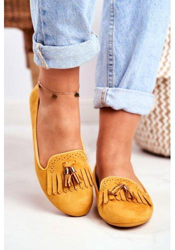 Žlté štýlové mokasíny so strapcami pre dámy