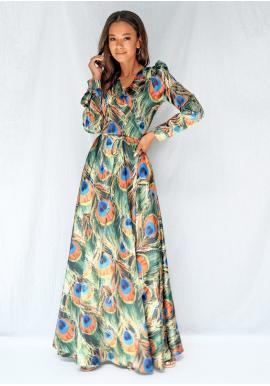 Dlhé saténové šaty s dlhým rukávom s motívom pávích pier