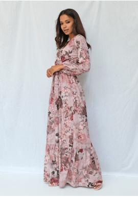 Dámske púdrové maxi šaty s kvetinovým motívom