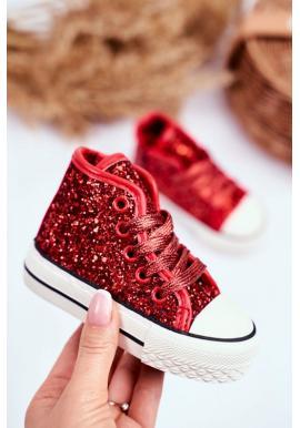 Červené trblietavé vysoké tenisky pre dievčatá