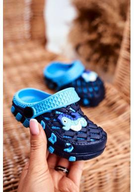 Detské kroksy s morským koníkom v modrej farbe