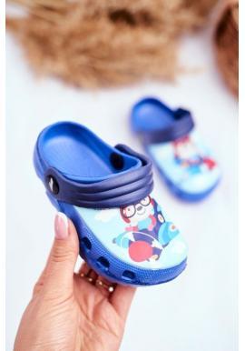 Štýlove modré kroksy pre chlapcov s medveďom