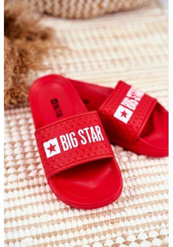 Detské gumené červené šľapky s bielym logom Big Star