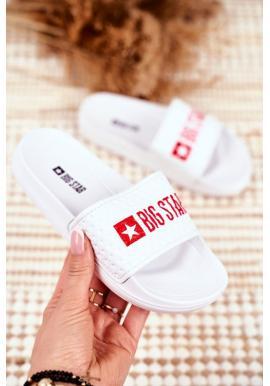 Biele detské šľapky s červeným logom Big Star