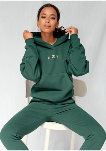 Športový komplet zelených teplákov a mikiny pre dámy