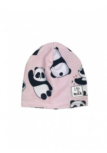 Ružová čiapka s potlačou pandy pre deti vo výpredaji