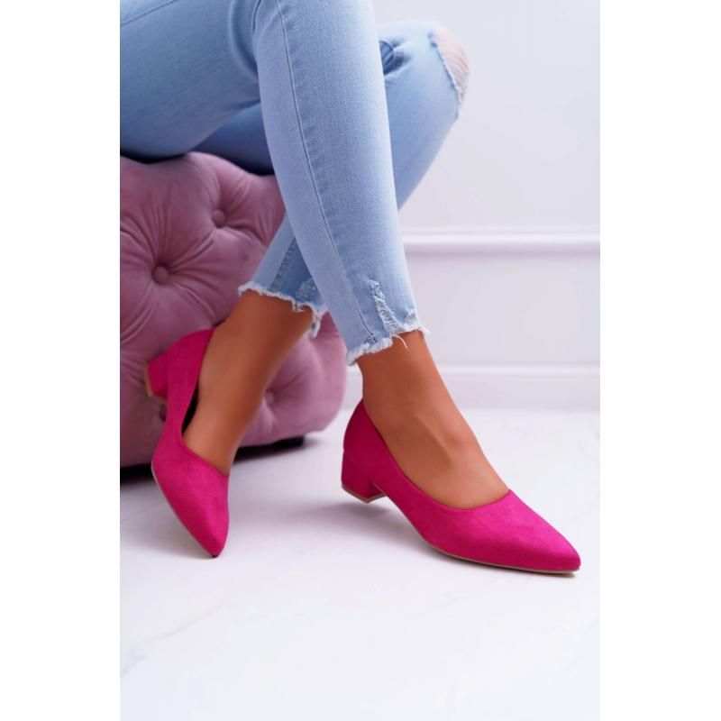 Ružové semišové lodičky na nízkom podpätku pre dámy