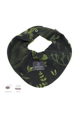 Obojstranný zamatový šál s bylinkovým motívom