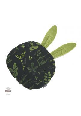 Zeleno-čierny zamatový vankúš s ušami s bylinkovým motívom