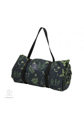 Čierno-zelená pikniková deka s bylinkovým motívom