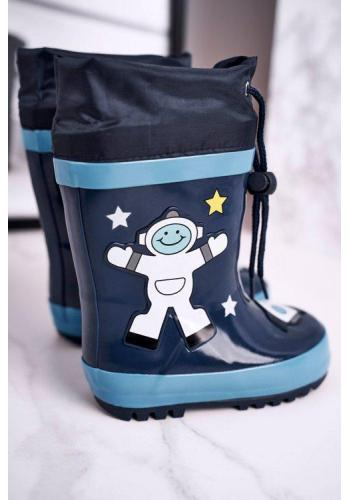 Tmavomodré chlapčenské gumáky do dažďa s kozmonautom