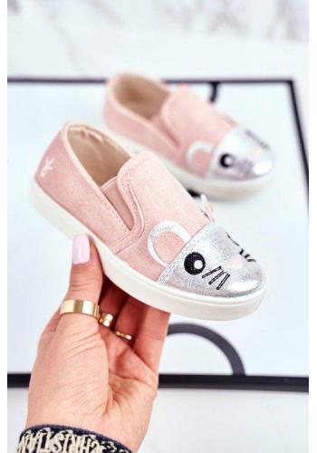 Dievčenské ružové tenisky s myškou