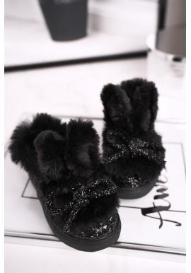 Trblietavé čierne tenisky s mašľou a uškami pre dievčatá