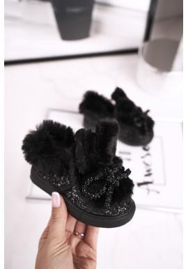 Čierne tenisky s kožušinou pre dievčatá