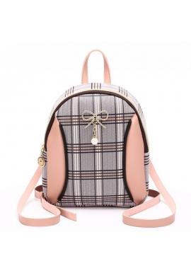 Dámsky mini ruksak s károvaným vzorom v ružovej farbe