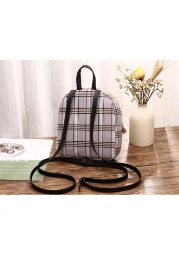 Čierny mini ruksak s károvaným vzorom pre dámy