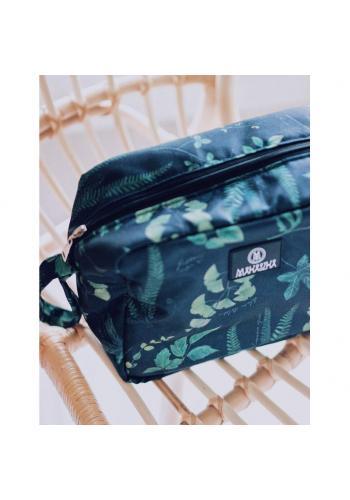 Biely vodeodolný kozmetický kufrík s motívom zelenej šalvie
