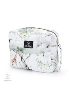 Biely vodeodolný kozmetický kufrík s motívom Savany