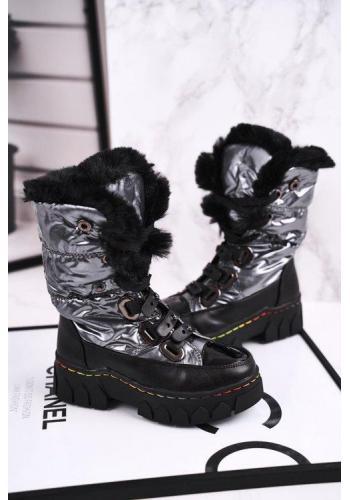 Dievčenské metalické oteplené snehule čierno-sivej farby