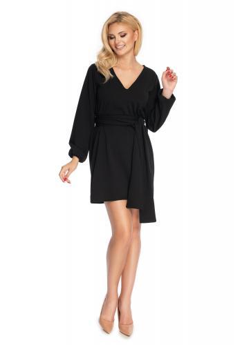 Elegantné dámske čierne šaty s viazaním kolo pása