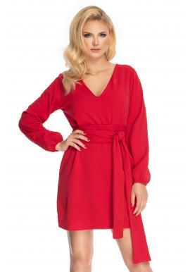 Červené elegantné šaty s viazaním kolo pása pre dámy