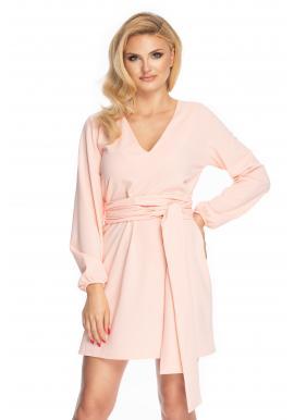 Dámske elegantné šaty s viazaním kolo pása v púdrovej farbe