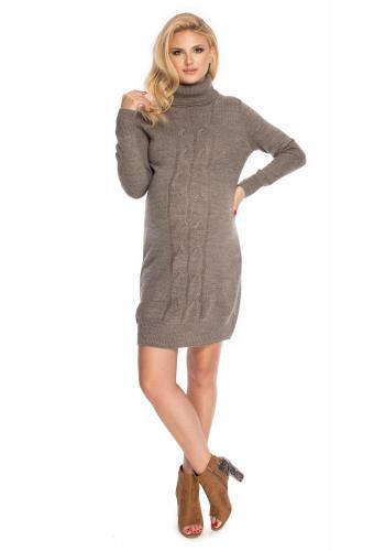 Dlhé rolákové svetrové šaty v cappuccinovej farbe