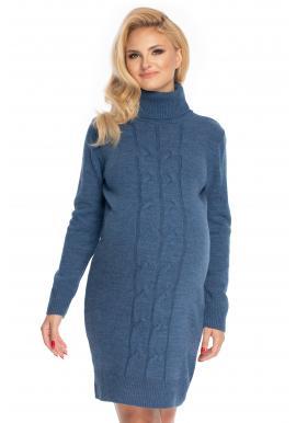 Modré tehotenské svetrové šaty s rolákom